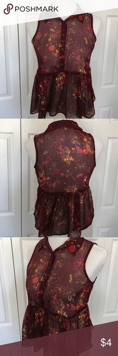 Red Floral See Through Peplum Style Shirt Red Floral pattern Peplum shirt. Sheer material and lightweight. Size M. 100% Polyester material.                                                                                                                                       ❗️No trades❗️ ☀️Get the best deals on bundles☀️ 📱Follow me on Instagram: https://www.instagram.com/camilles.closet.poshmark/ Arizona Jean Company Tops Blouses