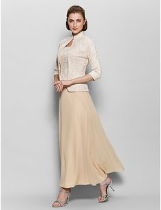 A-line Mother of the Bride Champagne Dress Ankle-length @ Mother of the Bride / Groom Dresses Blog                                                                                                                                                                                 More