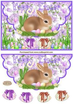 Easter Bunny Scalloped Edge Card Front on Craftsuprint designed by Sandra Carlse - A really sweet Easter bunny card front. Thank you for showing an interest in my design. Please click on my name above to view more of my designs which include 3d Stepper Card Kits, 3d Easel Card Kits, Decoupage Cardmaking Sheets plus many more. - Now available for download!