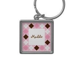Modern Pink Argyle Personalized Key Chain