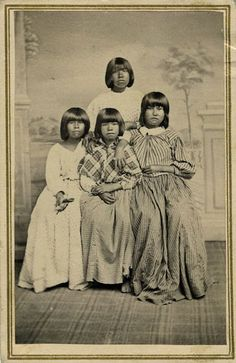 Rare carte-de-visite of a Maidu woman and three girls, probably mother and daughters. The image dates from around 1860 and was taken by by Charles Ferrand, Nevada City's per-eminent local photographer.