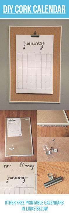 DIY CORK CALENDAR   http://www.delineateyourdwelling.com/2015/11/2016-hand-lettered-calendar.html  http://www.clementinecreative.co.za/free-printable-2016-calendar-brush-lettered/  http://www.smallpaperthings.com/free-printable-calendar-2016-weekly-planner-printables/  http://www.lemonthistle.com/2016-free-printable-calendars/  http://thyme-is-honey.com/2015/10/30/free-printable-calendar/  IKEA CORK BOARD  http://www.ikea.com/ca/en/catalog/products/20267220…