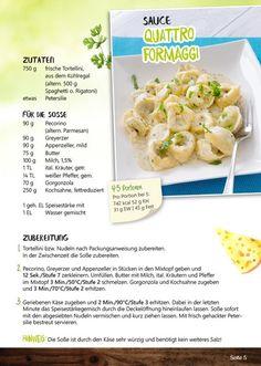 Mix ohne Fix! Veggie Tortellini, Creative Food, Pasta, Dinner, Fruit, Ethnic Recipes, Chutneys, Meat, Languages