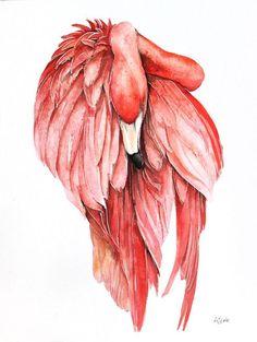 ARTFINDER: pink flamingo by Karolina Kijak - Original watercolors of The pink  flamingo  Paper 300g,  100% cotton size 32x44cm  Follow me on facebook: https://www.facebook.com/kijakwatercolors