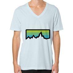 Abstract Mountain Light Invert V-Neck (on man) Shirt
