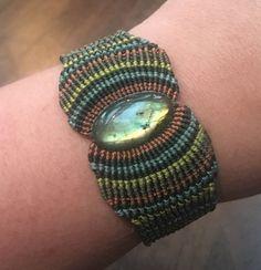 Labradorite Gemstone Macrame Cuff Bracelet by KristaBellerDesigns