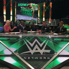 The Money In The Bank Kickoff Panel. Renee Young, Booker T, Corey Graves and Byron Saxton.