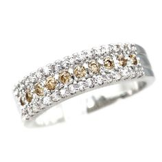 Sterling Silver Gorgeous Citrine / Clear CZ Band Ring Sz 6-9