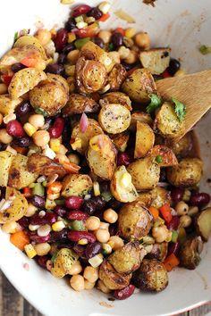Tex-Mex Three Bean Potato Salad - ilovevegan.com