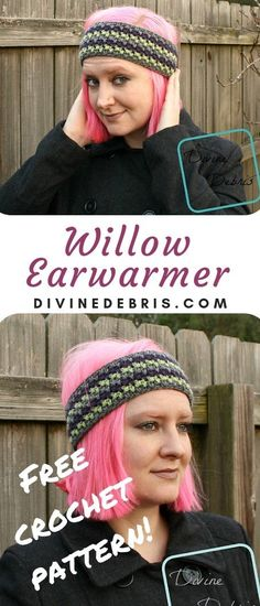 Make this warm and fun headband from a simple combination of stitches, the Willow Earwarmer free crochet pattern by Divine Debris. Crochet Headband Pattern, Crochet Beanie Hat, Crochet Hooks, Crochet Headbands, Knit Headband, Baby Headbands, Crochet Gifts, Free Crochet, Beginner Crochet