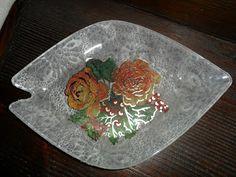 Il Mercatino di Zia Lella: Piccolo vassoio in cristallo con decoupage e carta...