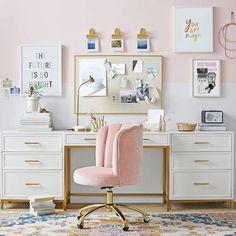 Home Office Design, Home Office Decor, Home Decor, Pink Office Decor, Office Desks For Home, Feminine Office Decor, Gold Office, Office Decorations, Girls Bedroom