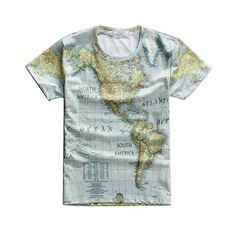 651808543183 2015 Summer Men Hip Hop T Shirt Short Sleeve 100% Cotton World Map Printed  Mens