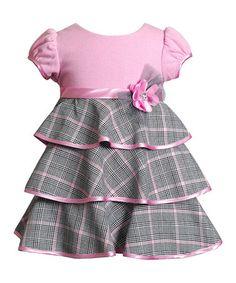 Look what I found on #zulily! Pink Windowpane Rosette Tiered Dress - Infant #zulilyfinds
