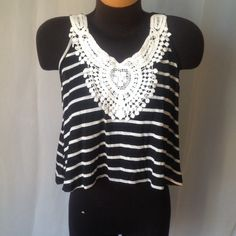 Poof Crop top with Crochet Black and white striped top. Brand new wit tags. No flaws. Very cute. Poof! Tops Crop Tops