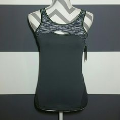 Skechers workout top! NWT New with tags!!  Get you workout on this this sassy top! Gray top, upper part is gray, black and white print with bright green thread details.  Wicking stretch fabric keeps you dry and comfortable. Internal shelf bra is lined with soft wicking. Shell: 90% polyester 10%spandex Lining 95%polyester 5% spandex   Keywords:*workout, sports top/bra, athletic, gym* Skechers Tops Tank Tops