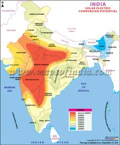 Solar electric conversion means conversion of sunlight into electricity. Map showing India solar electric conversion. India World Map, India Map, India India, Solar Energy Facts, Solar Energy System, Solar Power, Geography Map, Physical Geography, Gernal Knowledge