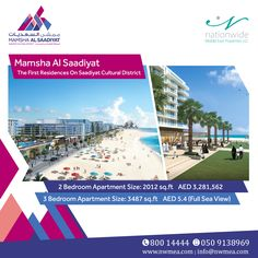 Live in the expanding luxurious island, opt for one of the most profitable communities, in Mamsha Al Saadiyat. Exclusively for sale: 3BR full sea view apartment, size 3489 SQFT at AED 5.4 ONLY! 2BR apartment, size 2012 SQFT at AED 3,281,562 ONLY! Book your chosen property, experience the outstanding fusion of a dynamic community with a perfectly relaxed costal atmosphere in a home at the center of all! Call us at: 0509138969 | 80014444  #RealEstate #Saadyiat #AbuDhabi #SeaView…