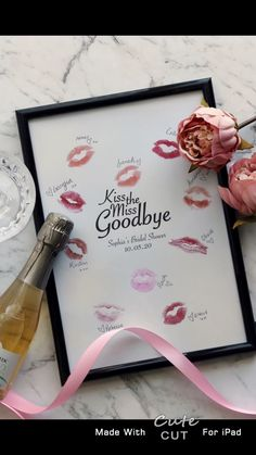 Kiss the miss goodbye, printable, hens/bridal shower bachelorette party idea - A fun Hen& Night activity which will make a memorable keep sake for the Bride. At the event, - Classy Bachelorette Party, Bachelorette Party Decorations, Bachelorette Weekend, Bridal Shower Decorations, Hen Party Decorations, Raunchy Bachelorette Party Games, Unique Bachelorette Party Ideas, Bachelorette Drinking Games, Bachelorette Gift Bags