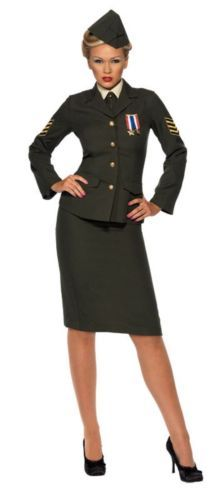 Fancy Dress Womens Wartime Officer Army Ladies | eBay