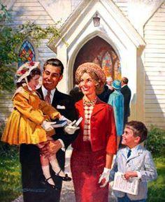Happy Family Leaving Church, Peter Stevens (1920 – 2001, Welsh-born American)