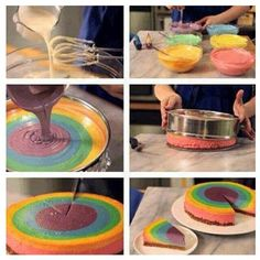 Rainbow Cake- love the swirl effect