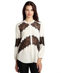 66f066725d9 Gemmaivory and black silk and sheer lace concealed button placket blouse Big  Closets