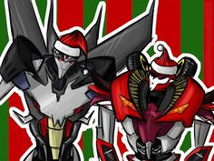 Transformers Prime TFP Starscream and Knockout Christmas. (woohoo, my 1800th pin!)