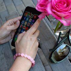 Rose Quartz, Rhodonite and sterling silver bracelet