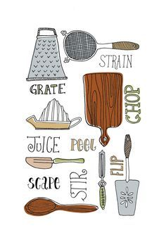 1000+ images about Cutlery illustrations on Pinterest | Kitchen ...
