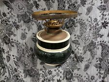 Small Oil Lamp Ceramic Base with weighted Brass Fittings Floral  16cm x 13cm
