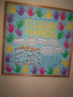 Handwashing Cute idea, I would add kids real hands traced and have their picture in the center of it : Bulletin board for cold and flu season Health Activities, Book Activities, Career Bulletin Boards, Hand Washing Poster, Nurses Station, Teachers Corner, Hand Hygiene, Kids Class, Back To School Gifts