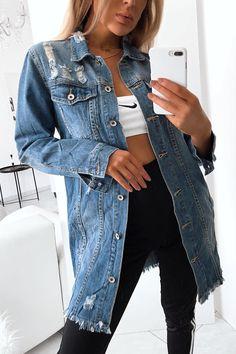Longue veste en jeans destroy Jeans Kaki, Jeans Bleu, Jean Destroy, Denim Bomber Jacket, Hypebeast Wallpaper, Destroyed Jeans, Casual Outfits, My Style, Jackets