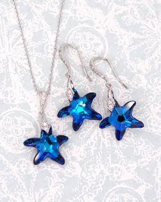 Bermuda Blue Starfish Crystal Earrings, Swarovski Crystal Jewelry, Beach Destination weddings, brides, bridesmaid earrings, something blue, bridal shower gifts, Nautical, www.glitzandlove.com See more here: https://www.glitzandlove.com/collections/earrings/products/bermuda-blue-starfish-earrings