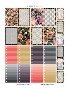 FREE Happy Planner Printable Planner Stickers - Black Gold and Floral