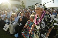 PEARL HARBOR (Dec. 7, 2011) – Pearl Harbor survivor David Shoup stands to be recognized during the 70th anniversary of Pearl Harbor Day. Five thousand guests, including 125 Pearl Harbor survivors and other WWII veterans attended the National Park Service and U.S. Navy-hosted joint memorial ceremony at the Pearl Harbor Visitor Center at the World War II Valor in the Pacific National Monument, Dec. 7. (U.S. photo by Mass Communication Specialist 2nd Class (SW) Mark Logico/RELEASED)