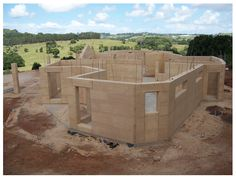 Rammed earth home ready for roofing...  http://www.rammedearthnational.com.au
