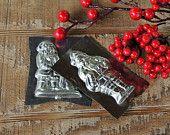 Vintage Tin Santa Claus Chocolate Molds Set of 2, Bakeware, Rustic Metal Primitive, Holidays, Soap, Holiday Farmhouse Kitchen, Holiday Decor