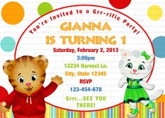 Cute Daniel Tiger's Neighborhood Digital Birthday Party Invitation, DIY Print. $6.99, via Etsy.