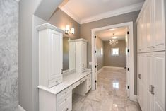 High-End Bathroom Custom Cabinetry White Marble and Huge Walk-In Closet Interior Design Photos, Bathroom Interior Design, Master Bedroom Bathroom, Modern Bathroom, Countertop Decor, Longboat Key, Master Bath Remodel, Custom Cabinetry, House Rooms