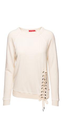 Philanthropy Mika Lace Up Sweatshirt in White Magic / Manage Products / Catalog / Magento Admin