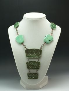 """""""Green Desire"""" Ceramic, Stone, Crystal & Copper Necklace by Madeline Henry"""