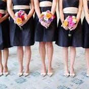 black bridesmaid dress with sash