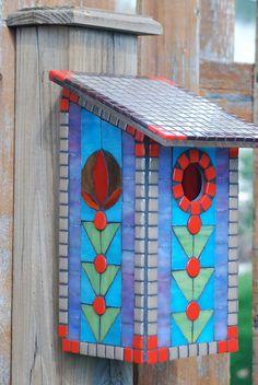Birdhouse Stained Glass Mosaic Bluebird by NatureUnderGlass
