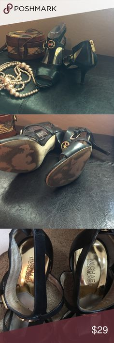 """Michael Kors heels MK preloved 3""""heels shoes 👠. With MK accents though out the shoes. Zipper on the back and adjustable strap on the side on the shoes. Michael Kors Shoes Heels"""