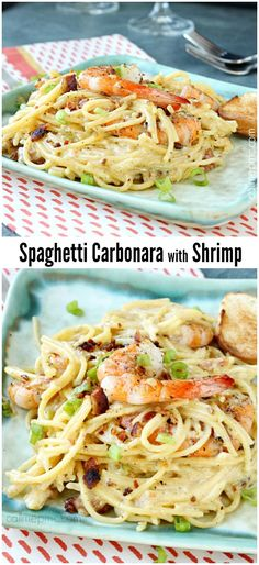 Simply divine Shrimp Spaghetti Carbonara is light and tasty with buttery noodles and succulent shrimp. It's delicious, one of my all-time favorites and completely comfort food at it's best.