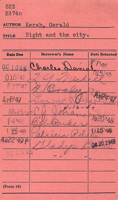 "The ""old days"" library cards.remember checking books out of the library this way? It's awesome that the first name on here is Charles Daniel. Because all I can think of is "" The Devil Went Down To Georgia"" lol School Memories, My Childhood Memories, Great Memories, School Days, School Items, 90s Childhood, Public School, School Stuff, High School"