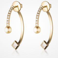 The Selma gold and diamond earrings by Dannijo Aquamarine Jewelry, Pearl Jewelry, Diamond Jewelry, Diamond Earrings, Silver Jewelry, Vintage Jewelry, Diamond Stud, Silver Bracelets, Silver Rings