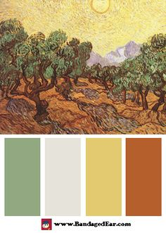 Color Palette: The Olive Trees, c.1889, Art Print by Vincent Van Gogh