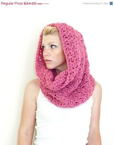 SUMMER SALE The Chunky Cowl Scarf Shawl Hood - Dusty Rose